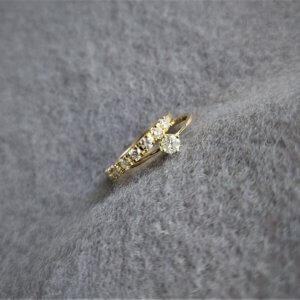 geelgouden solitaire ring met diamant en geelgouden alliance ring met diamant opnieuw gemaakt en de diamanten van de klant teruggezet