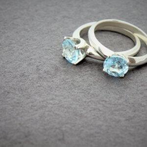 zilveren stapel ring met topaas