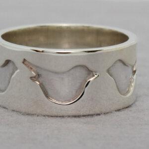 zilveren ring met vogeltjes